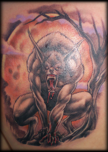 Tattoo 2. You've got blood, fur and a giant full moon – just what a werewolf